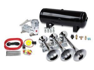 Train Air Horn Kit&#59; Three Huge Flat-Rack Trumpets, 100% Duty, 150 PSI Air System