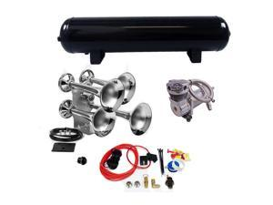 Giant Quad Train Horn Kit Complete Package w/ 200 PSI Compressor 4 Gallon Tank