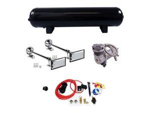 """Truck Horn Complete Package Dual 29"""" Roof Mount Horns 200 PSI 4 Gal Air System"""