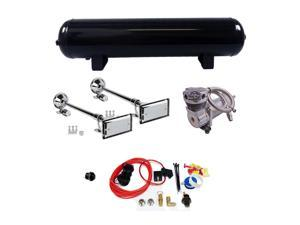 """Truck Horn Complete Package Dual 25"""" Roof Mount Horns 200 PSI 4 Gal Air System"""