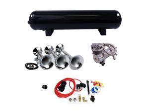 Flat Rack Triple Train Horn kit w/ 200 PSI 4 Gallon Air System