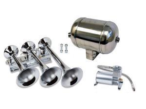 Train Air Horn Kit&#59; Three Oversize Flat-Rack Trumpets, 150 PSI Compressor & Tank