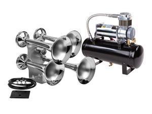 Train Air Horn Kit: Four Huge Trumpets, 12-Volt Heavy Duty 150 PSI Compressor