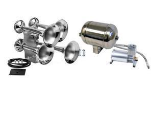 Train Air Horn Kit&#59; Four Oversize Trumpets, 12-Volt w/150 PSI Compressor & Tank