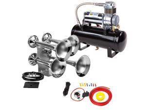 4-Trumpet Train Air Horn Kit for Trucks: Includes All-In-One 12 Volt Air System