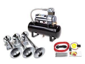 Train Air Horn Kit&#59; Three Huge Trumpet Flat-Rack , Heavy Duty 150 PSI Compressor
