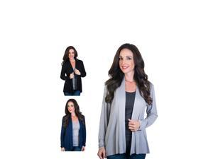 Women's Agiato Modern Long Sleeve Basic Cardigan 3-Pack
