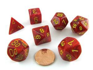 Polyhedral 7-Die Vortex Chessex Dice Set - Red with Yellow Numbers