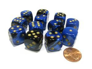 Gemini 16mm D6 Chessex Dice Block (12 Dice) - Black-Blue with Gold Pips