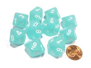 Set of 10 Chessex Frosted D10 Dice - Teal with White Numbers
