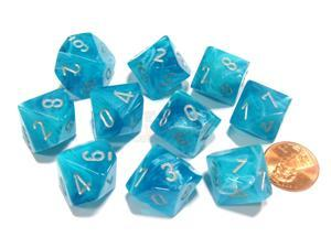 Set of 10 Chessex Cirrus D10 Dice - Aqua with Silver Numbers