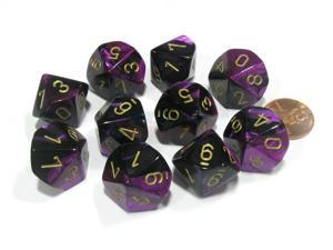 Set of 10 Chessex Gemini D10 Dice - Black-Purple with Gold Numbers