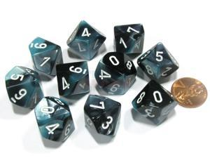 Set of 10 Chessex Gemini D10 Dice - Black-Shell with White Numbers