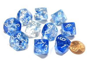 Set of 10 Chessex Nebula D10 Dice - Dark Blue with White Numbers