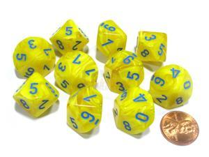 Set of 10 Chessex Vortex D10 Dice - Yellow with Blue Numbers