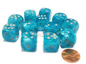 Cirrus 16mm D6 Chessex Dice Block (12 Dice) - Aqua with Silver Pips