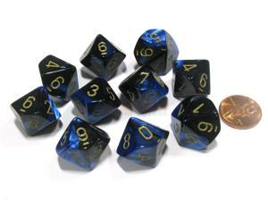 Set of 10 Chessex Gemini D10 Dice - Black-Blue with Gold Numbers