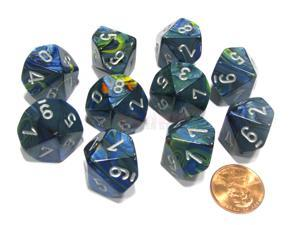 Set of 10 Chessex Festive D10 Dice - Green with Silver Numbers