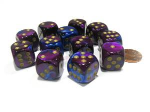 Gemini 16mm D6 Chessex Dice Block (12 Dice) - Blue-Purple with Gold Pips