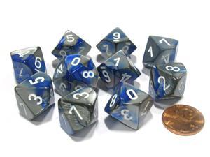 Set of 10 Chessex Gemini D10 Dice - Blue-Steel with White Numbers