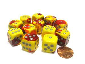 Gemini 16mm D6 Chessex Dice Block (12 Dice) - Red-Yellow with Silver Pips
