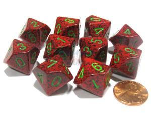 Set of 10 Chessex D10 Dice - Speckled Strawberry
