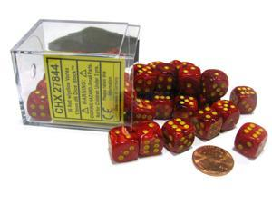 Vortex 12mm D6 Chessex Dice Block (36 Dice) - Red with Yellow Pips
