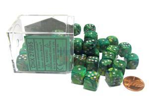 Lustrous 12mm D6 Chessex Dice Block (36 Dice) - Green with Silver Pips
