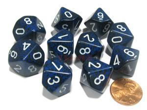 Set of 10 Chessex D10 Dice - Speckled Stealth