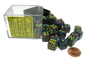 Festive 12mm D6 Chessex Dice Block (36 Dice) - Rio with Yellow Pips