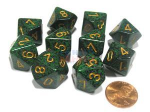 Set of 10 Chessex D10 Dice - Speckled Golden Recon