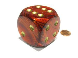 Scarab 50mm Huge Large D6 Chessex Dice, 1 Piece - Scarlet with Gold Pips