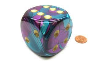 Gemini 50mm Huge Large D6 Chessex Dice, 1 Piece - Purple-Teal with Gold Pips