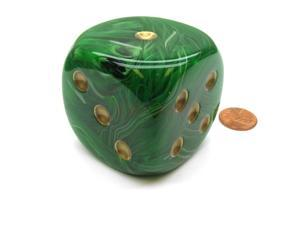 Vortex 50mm Huge Large D6 Chessex Dice, 1 Piece - Green with Gold Pips