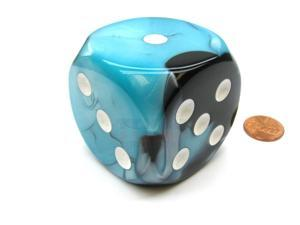 Gemini 50mm Huge Large D6 Chessex Dice, 1 Piece - Black-Shell with White Pips