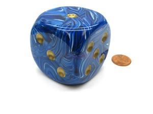 Vortex 50mm Huge Large D6 Chessex Dice, 1 Piece - Blue with Gold Pips