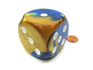 Gemini 50mm Huge Large D6 Chessex Dice, 1 Piece - Blue-Gold with White Pips