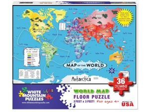 White Mountain Puzzles World Map Floor Puzzle - 36 Piece Jigsaw Puzzle