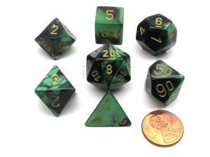 Polyhedral 7-Die Gemini Chessex Dice Set - Black-Green with Gold Numbers