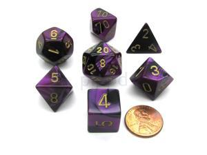 Polyhedral 7-Die Gemini Chessex Dice Set - Black-Purple with Gold Numbers
