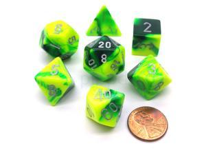 Polyhedral 7-Die Gemini Chessex Dice Set - Green-Yellow with Silver Numbers