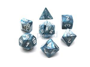 Polyhedral 7-Die Lustrous Chessex Dice Set - Slate with White Numbers
