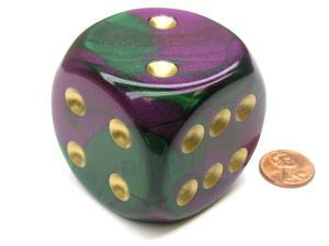 Gemini 50mm Huge Large D6 Chessex Dice, 1 Piece - Green-Purple with Gold Pips