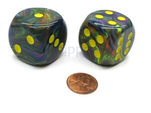 Festive 30mm Large D6 Chessex Dice, 2 Pieces - Rio with Yellow Pips