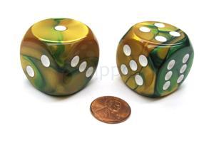 Gemini 30mm Large D6 Chessex Dice, 2 Pieces - Gold-Green with White Pips