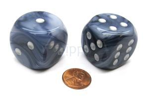 Phantom 30mm Large D6 Chessex Dice, 2 Pieces - Black with Silver Pips