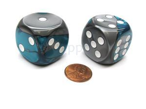Gemini 30mm Large D6 Chessex Dice, 2 Pieces - Steel-Teal with White Pips