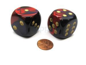 Gemini 30mm Large D6 Chessex Dice, 2 Pieces - Purple-Red with Gold Pips