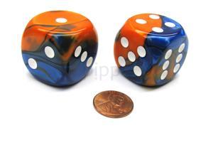 Gemini 30mm Large D6 Chessex Dice, 2 Pieces - Blue-Orange with White Pips