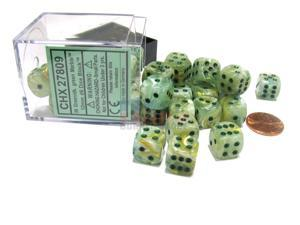 Marble 12mm D6 Chessex Dice Block (36 Dice) - Green with Dark Green Pips